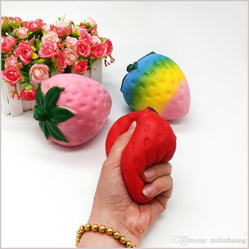 4 couleurs 12cm grande Colossal simulation géante spongieuse de fruits artificiels Kawaii Squishies hausse lente queeze sac de jouets téléphone MQ50