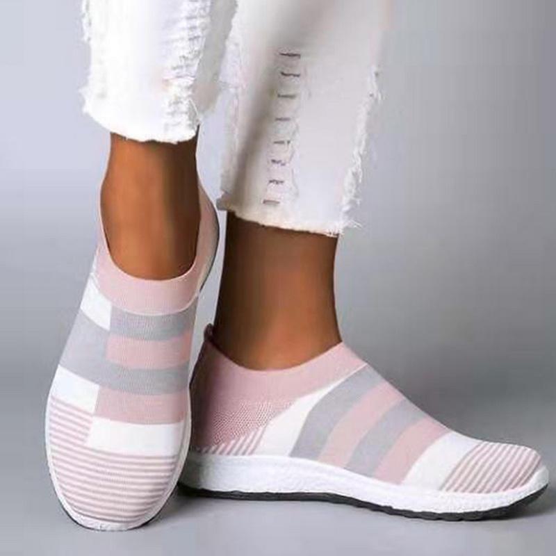 النساء مخطط أحذية رياضية الخريف الشقق الانزلاق على أحذية النساء الحياكة الإناث platfrom أحذية السيدات مبركن زائد الحجم