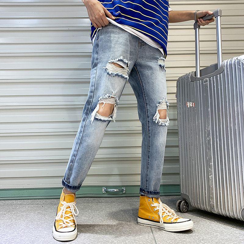 Fashion Streetwear Men's Jeans Vintage Blue Gray Color Skinny Destroyed Ripped Jeans Broken Punk Pants Homme Hip Hop Men
