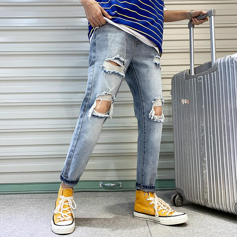 Moda Streetwear Jeans Masculinos Cor Azul Cinzento Do Vintage Magro Destruído Jeans Rasgado Calças Punk Quebradas Homme Homens Hip Hop