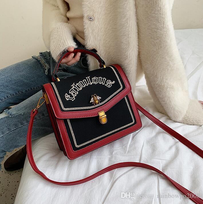 Factory wholesale women handbag new contrast leather messenger bag matte stitching leather shoulder bag exquisite embroidery handbag