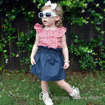 Bebê menina saia jeans terno verão bebê criança gola folha de lótus xadrez + rendas denim saia de duas peças tutu vestidos crianças roupas