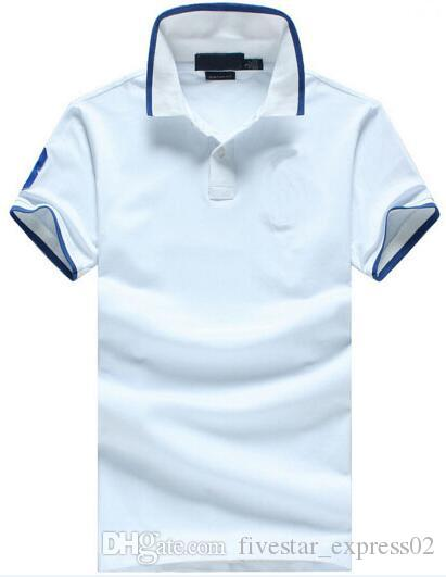 Manga corta de los hombres sólido polo grandes del caballo del bordado Casual Polos de algodón comerciales camisetas de los tops Azul Gris Blanco Tamaño M-XXL