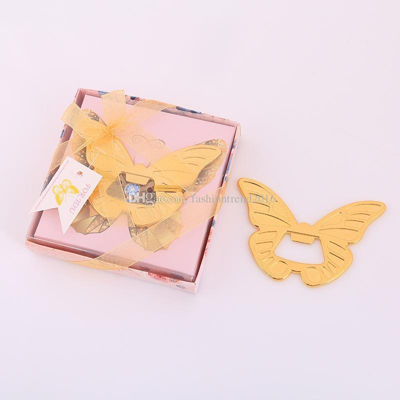 فراشة الذهب على شكل فتاحة زجاجات البيرة مع علبة هدية حزمة حفل زفاف لصالح أدوات المطبخ بار