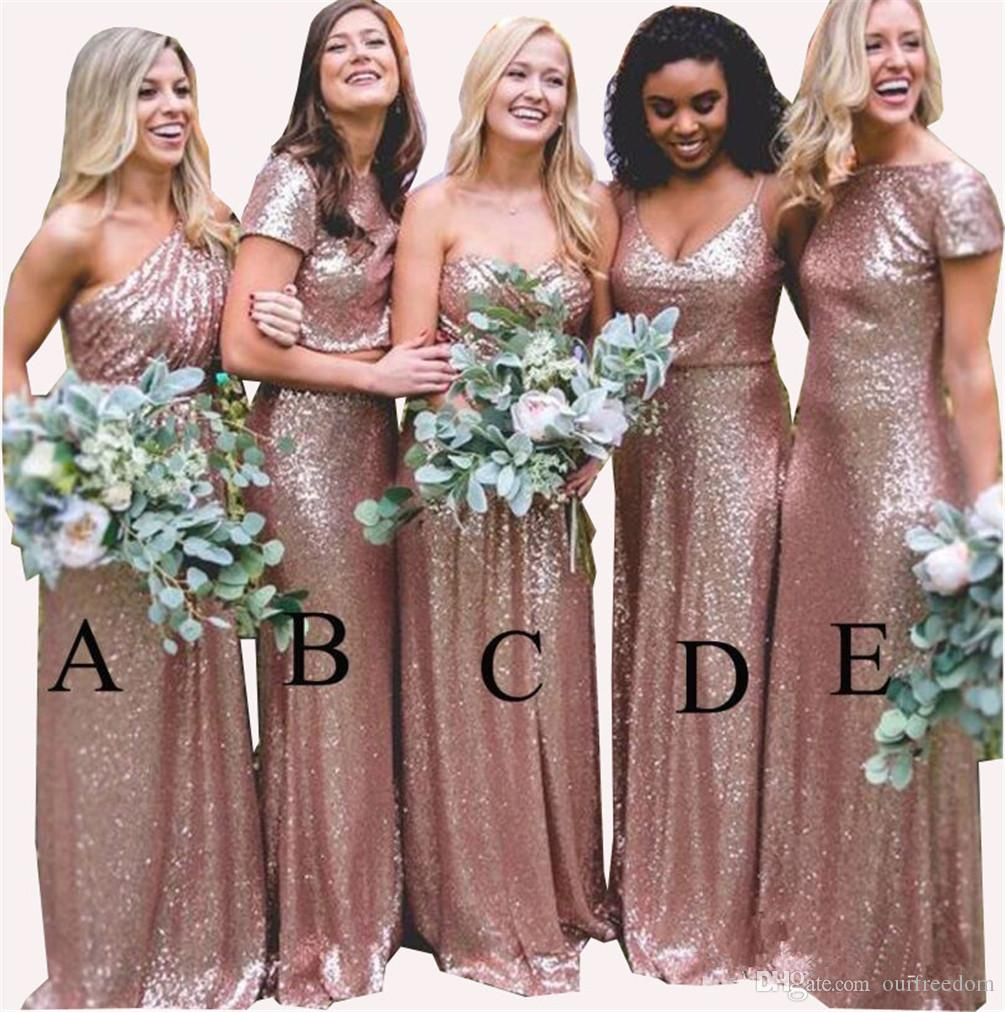 Bling Sparkly Bridesmaid Dresses 2019 Rose Gold Sequins New Cheap Mermaid  Two Pieces Prom Gowns Backless Country Beach Party Dresses Bridesmaid