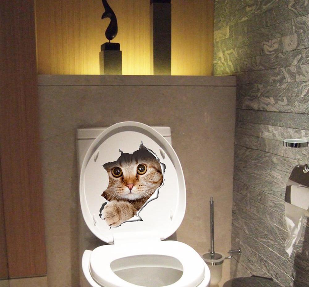 Nuovi creativi Gatti adesivi murali 3D Vision Hole Home Decor Cat igienici adesivi Frigorifero Bagno Decorazione decalcomanie del vinile