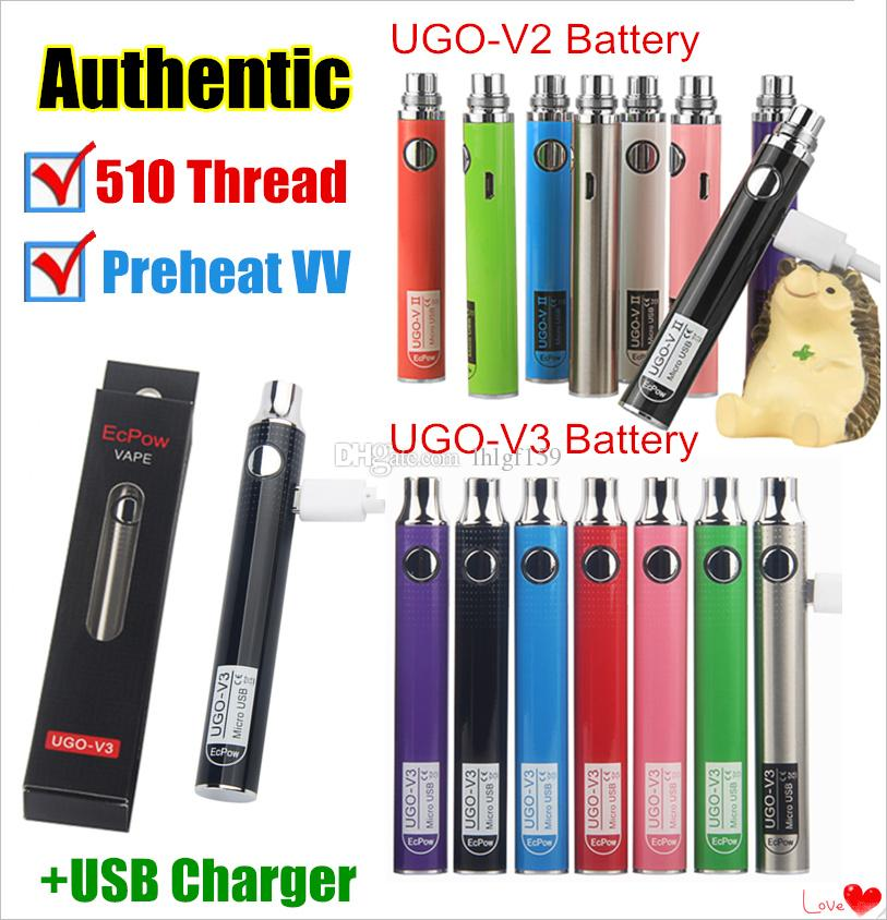 Authentic UGO-V II 2 510 Thread Vape Pen Batteries UGO V3 Variable Voltage Preheat Battery Kits EVOD VV eGo T Micro USB Passthrough Cartridge Electronic Cigarettes