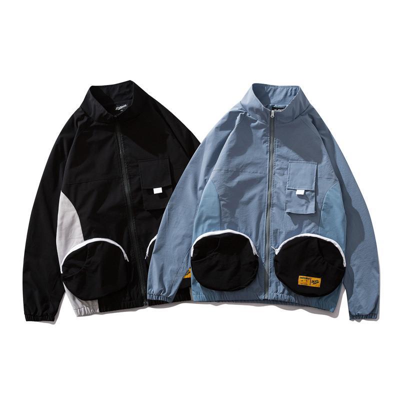 2019 Bomber Veste Hommes Hip Hop Coupe-Vent Streetwear Harajuku Veste Manteau Rétro De Mode Poche Zipper Track Vestes Nouveau Printemps