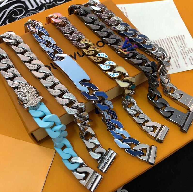 Top Design zu Luxuxmänner Armbänder Kettenglieder FLECKEN Farbige Armband Diamant-Halskette Schmuck