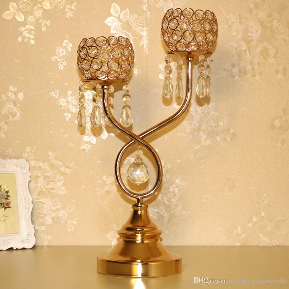 wedding decoration crystal centerpiece gold candelabra metal candle holder stand votive candle holder for marriage wedding decor 679