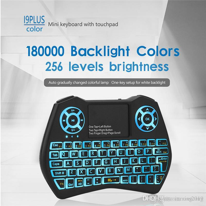 2019 New Mini Keyboard I9 Plus Colorful Backlight Air Mouse With Touchpad Remote Control Work For Android TV BOX/TV/Mini PC/Projector/X96