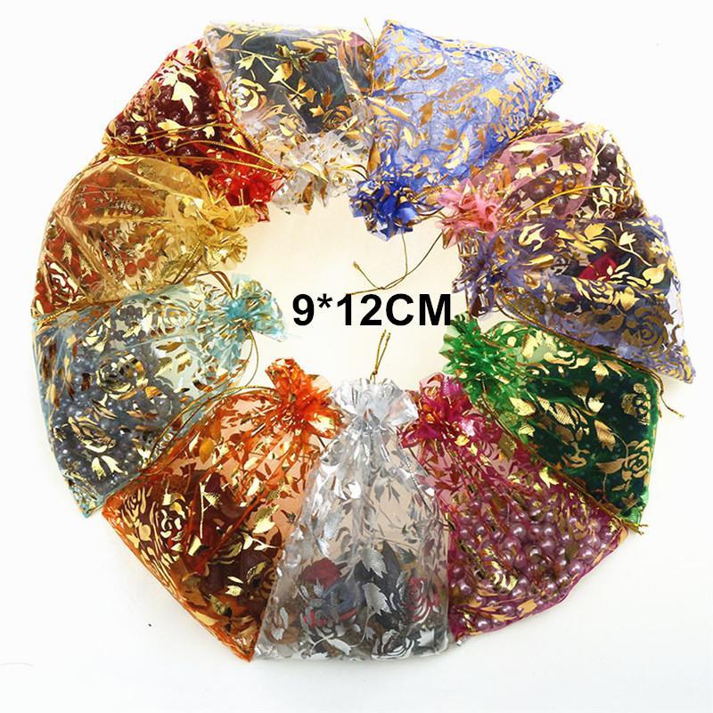 25 stücke Rose Candy Schmuck Verpackung Drawable Organza Geschenkbeutel Verpackung Taschen Weihnachten Hochzeit Dekoration 9X12 C18112701
