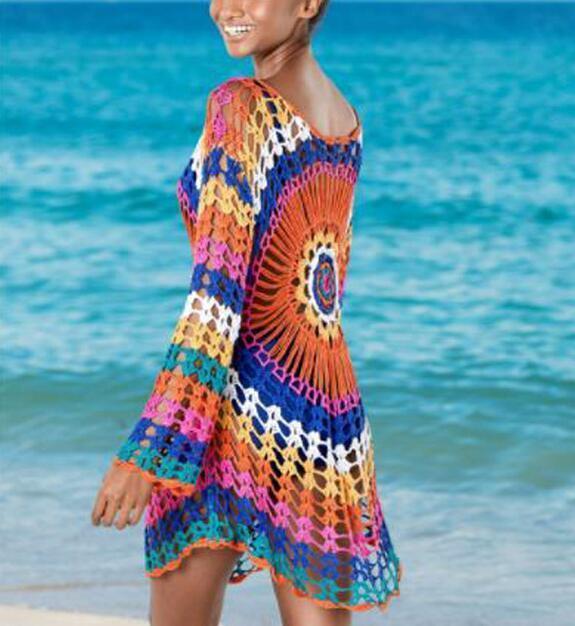 2019 Sexy Crochet Hollow Women Out Beach Dress Cap Up Bikini Covers -up Swimwear Swimsuit Cover-ups Playa Tunic