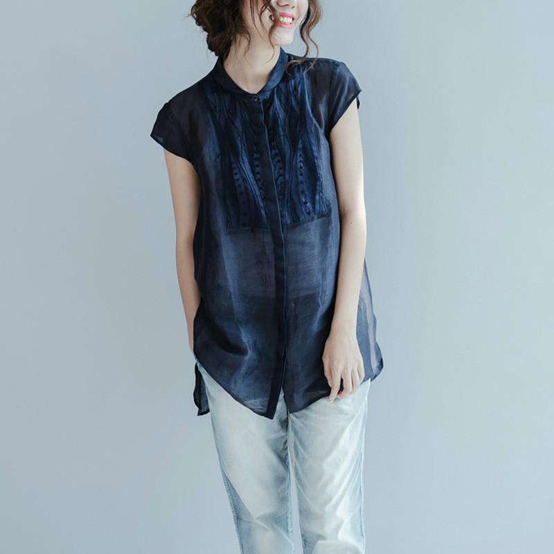 حقيقي الحرير المرأة بلوزة أزياء المرأة الصيف البلوزات 2020 الكورية فضفاضة التطريز الشيفون قميص السيدات blusas قمم C106 الصورة