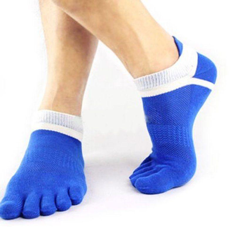 1pairs 39-44 esterna in cotone Toe Socks traspirante uomini di calze sportive Jogging Ciclismo Correre comodo 5 della punta della barretta Sock