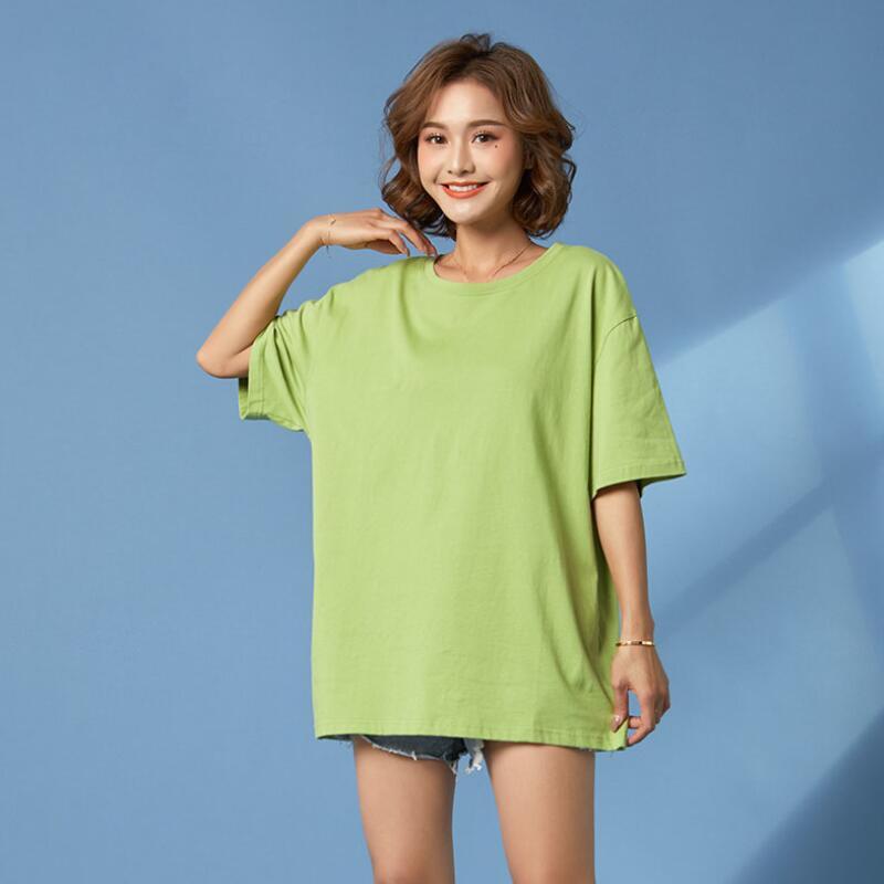 gran tamaño de la camiseta verde del aguacate mujeres básicas de la camiseta de algodón sencilla pleno verano vendimia de gran tamaño camiseta de color blanco sólido