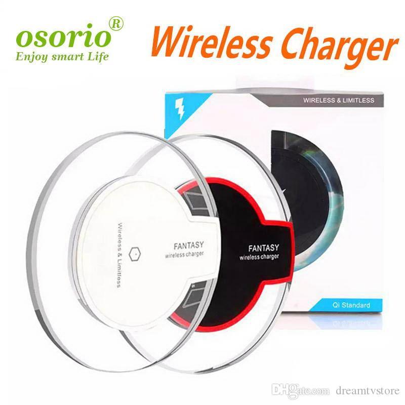 Ultra-mince universel sans fil rapide Chargeur QI nouvelle charge claire ultra-mince cristal K9 5W base pad Chargeur sans fil pour téléphones mobiles