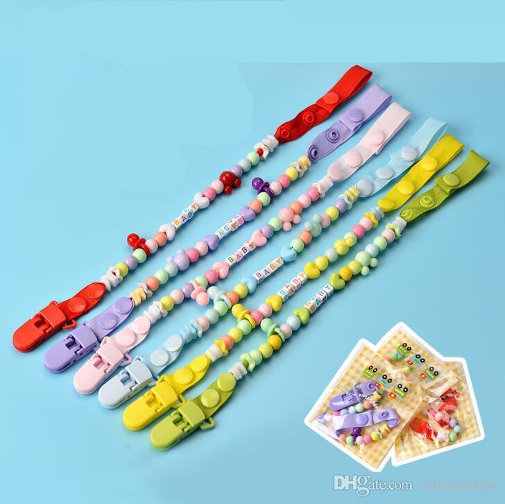 Porta succhietti neonato Ciuccio Infant clip capezzoli clip cordino bambini Carrozzina a catena guttaperca Con lettera AA05