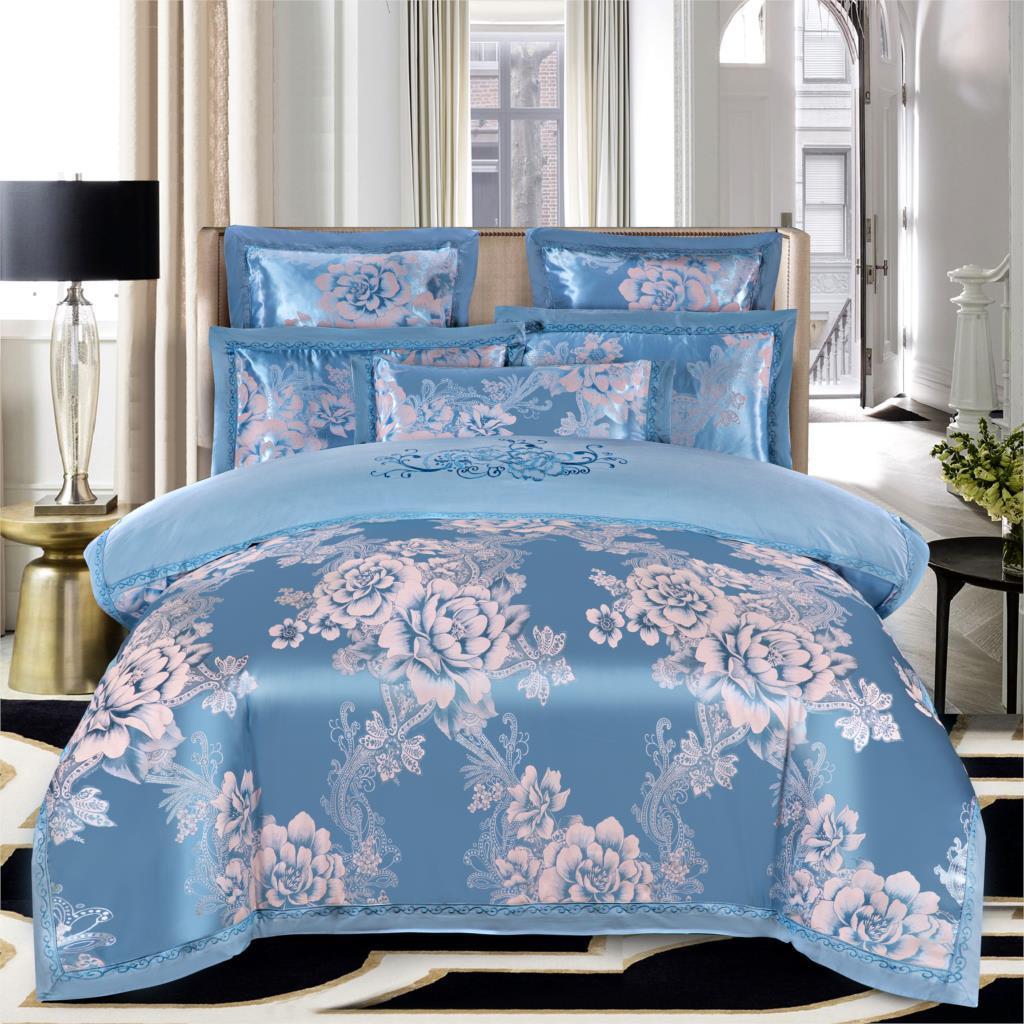 Keluo свадебные жаккардовые шелковицы постельное белье 100% хлопок Embroideredincluding пододеяльник простынь наволочка синий