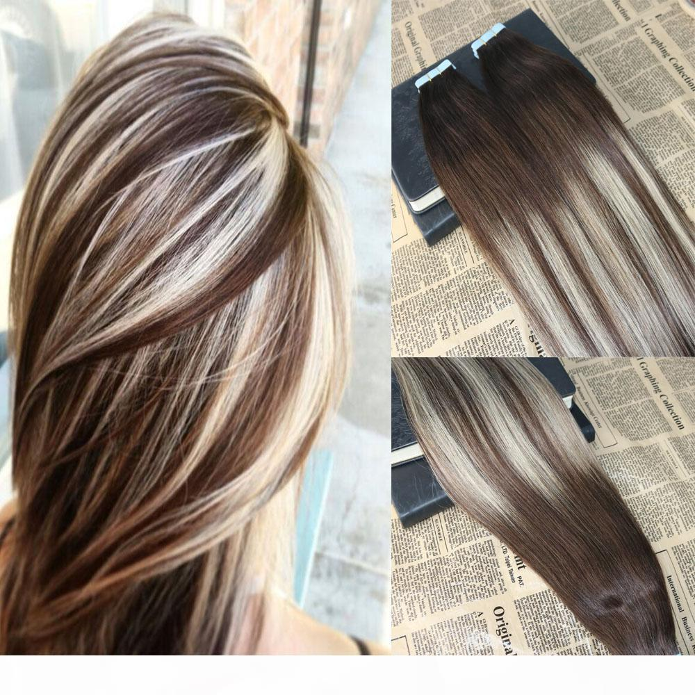 Omber Tape in Hair Extensions Color #3 Fading to #24 Highlighted Tape in Extensions Human Hair 8A Grade Glue in Extensions 100g 40pcs