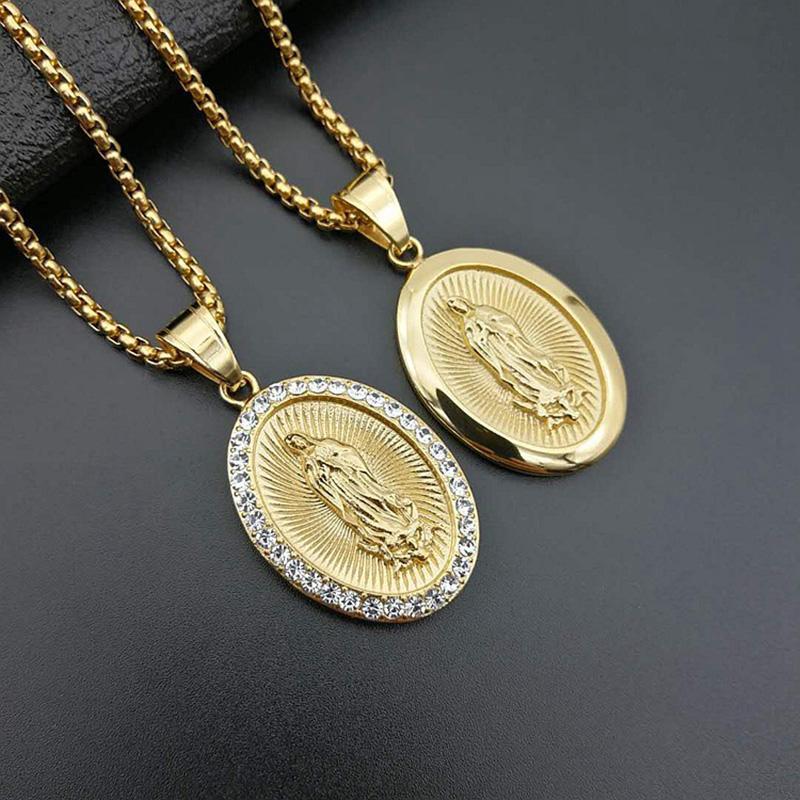 Erkekler Kadınlar Jewerly için Meryem Kolye Neckalce Altın Gümüş Paslanmaz Çelik Meryem Yuvarlak Kolye Kolye
