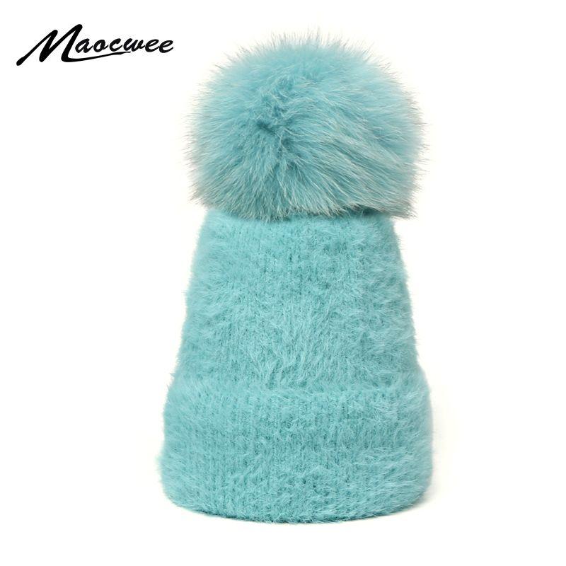النساء بيني الشتاء قبعات الفراء ريال بوم بوم قبعة فضفاض سكولي القبعات التريكو الماس الصوف قبعة صغيرة لامعة السيدات بنات قبعات