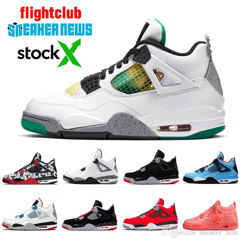 nike air jordan 4  2020 Jumpman Lucid Green Rasta New Bred 4 Travis Scott Cactus Jack 4s IV Men Basketball Shoes OVO Splatter What The Designer Sneakers