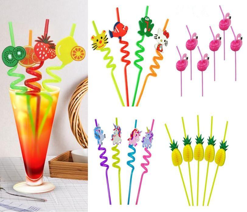 Cute 3D Drinking Straws Pineapple Orange Fruit Style Plastic Party Straws for Birthday Wedding Halloween Flamingo Flexible Baby Straw