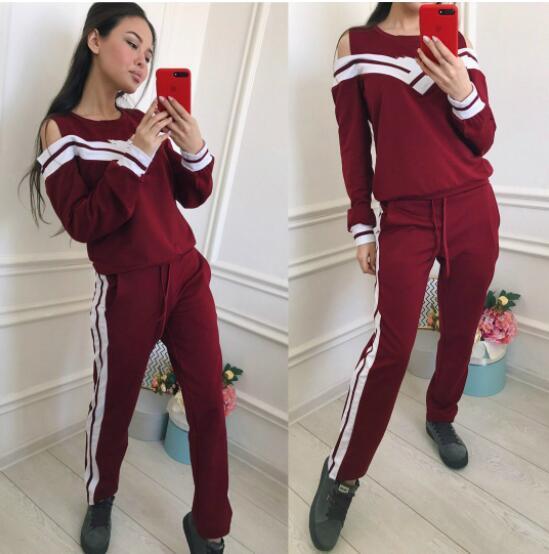 98b8f528a34 hot sell 2019 Women Two Piece Set Female Tracksuit Fleece Hoodies Top +  Pants Ladies Long