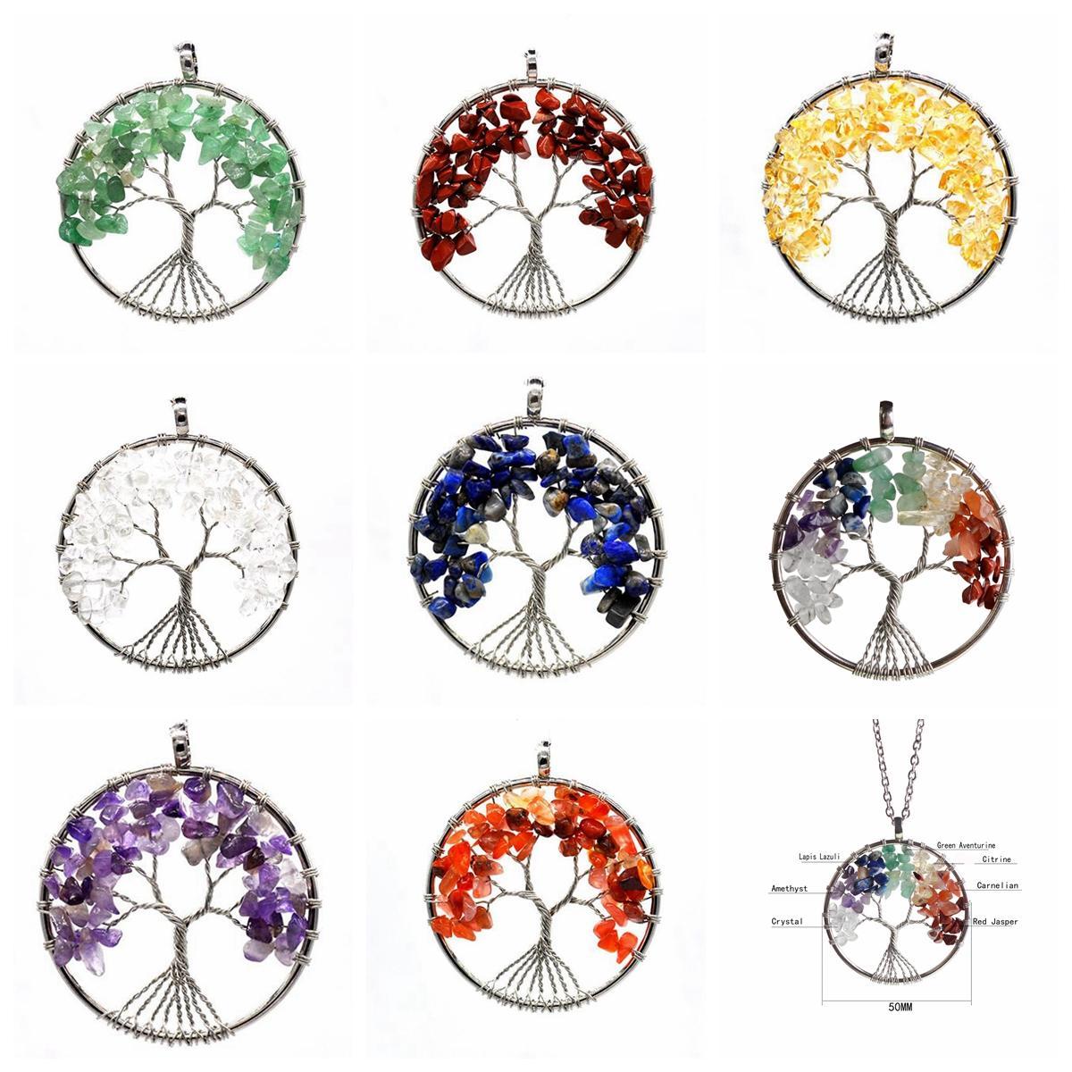 Дерево жизни ожерелье 7 чакра камень бусины природный Аметист стерлингового серебра ювелирные изделия цепи колье кулон ожерелья Для женщин подарок