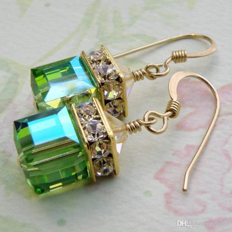 Requintado Brincos Moda Jóias 18 k Ouro Natural Verde Esmeralda Pedras Preciosas Birthstone Noiva Princesa Do Casamento Noivado
