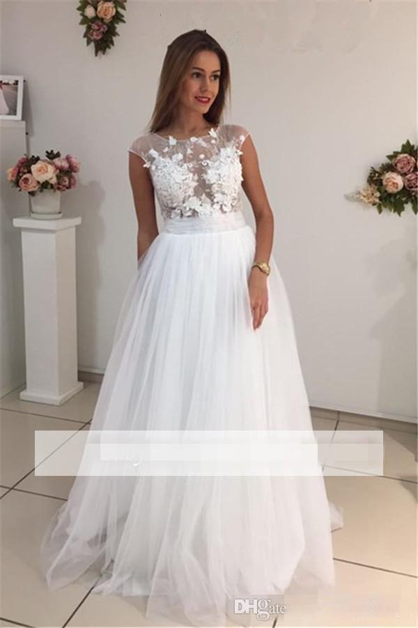 Elegant Crew Neck Cap Sleeves White Wedding Dresses A Line Tulle Appliques Lace Cheap Long Wedding Dresses Bridal Gowns Plus Size