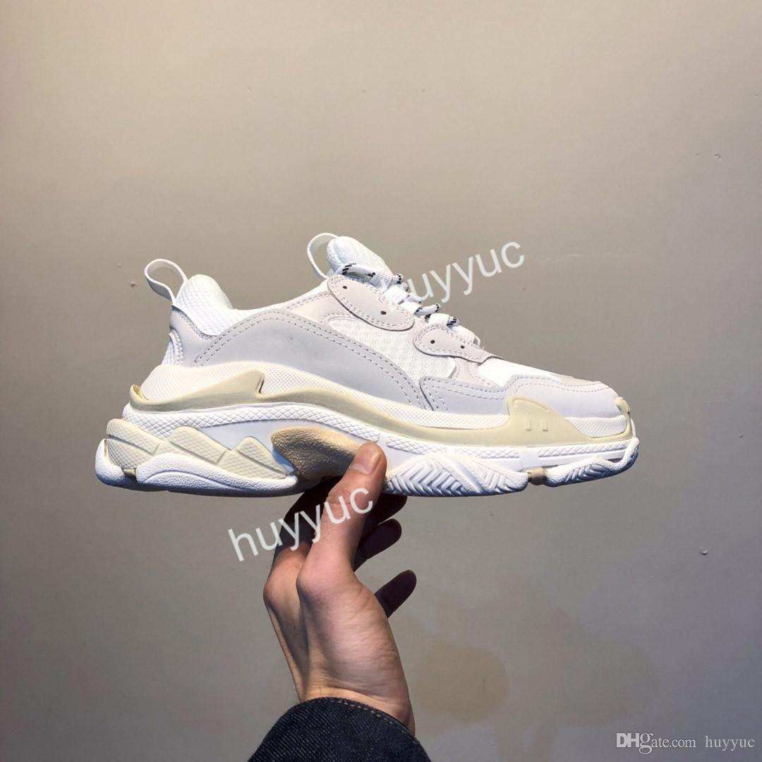 2020 Paris Fashion superiore Triple S Uomo Donna Casual Scarpe papà Triple Nero Tutti Bianco Rosso Grigio amanti della piattaforma Trainer Sneakers 36-45