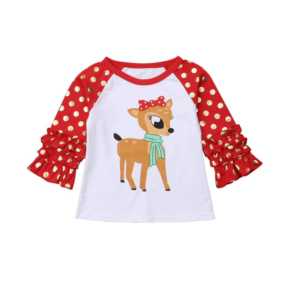 2020 nuovi calda del bambino dei capretti del bambino delle ragazze del ragazzo abbigliamento T-shirt Partito T Tops Outfit Natale