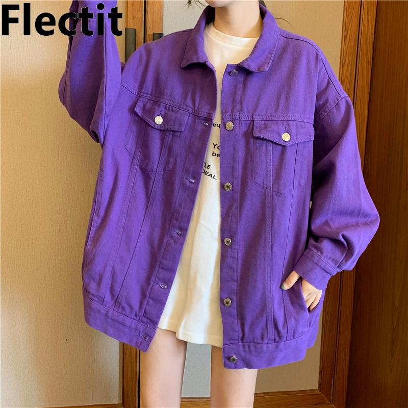 Flectt Street Style Style Donne Giacca Denim Ultra Violet Oversize TopStitched Jeans Jacket Purple Chic Capispalla Cappotti CY200515