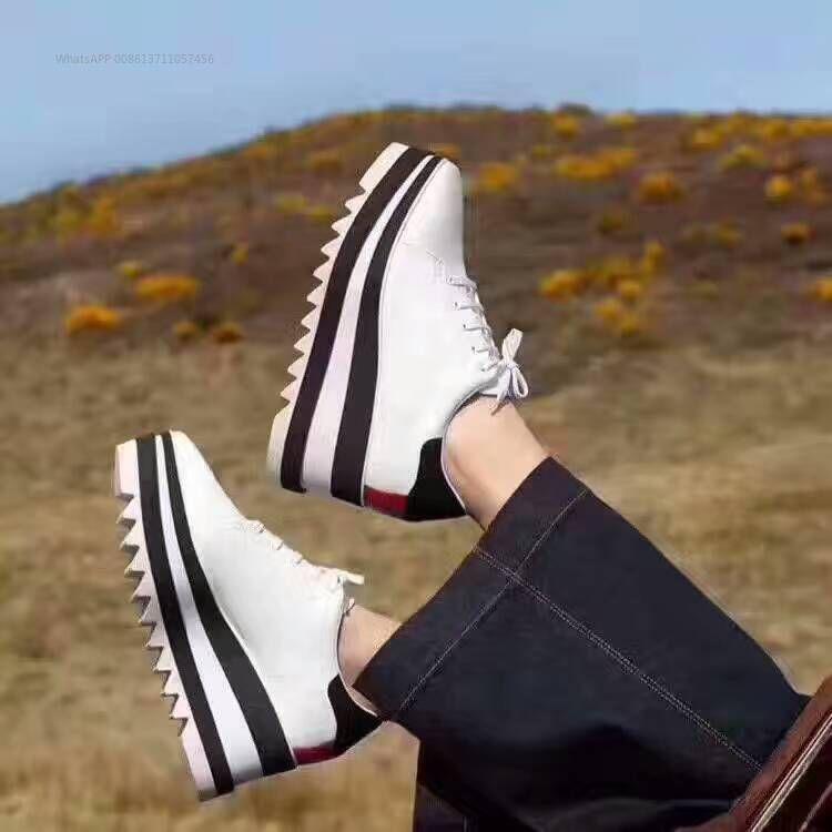 Sapatos reais! Tamanho grande 40 Couro Genuíno De Luxo Sapatos Stella Britt Sapatos Elyse Escovado Plataforma Casual Derbys Cunha Sapato Plana