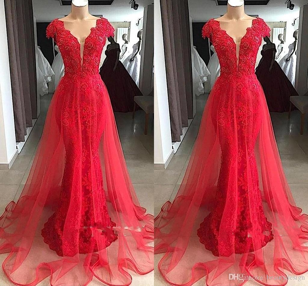 Glamorous Red V Neck Cap Sleeves 2019 Real Images Evening Dress Long Lace Appliques Mermaid Overskirts Prom Gown BC1215