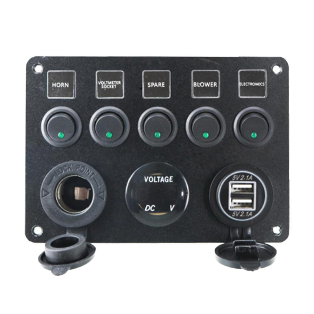 5 Gang LED Rocker Kontrol Paneli Devre Şarj Araç Marine Anahtarları