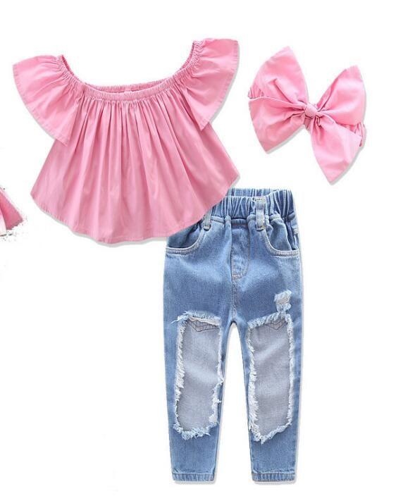2020 новый стильный малыш дети девочек одежда с наплечниками разорванные джинсовые брюки набор навязки 3 шт.