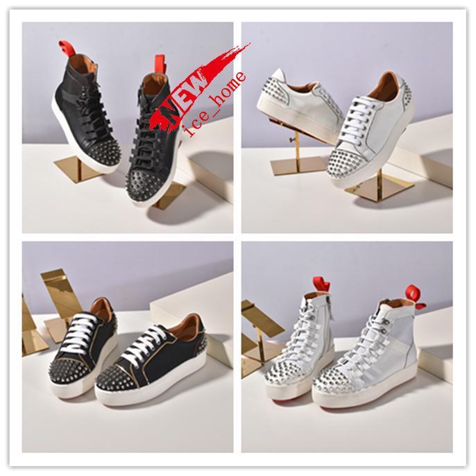 kutu YENİ Kırmızı Alt Spike Çorap Tasarımcı Casual ayakkabılar, Krystal Spikes Red Sole Flats ile