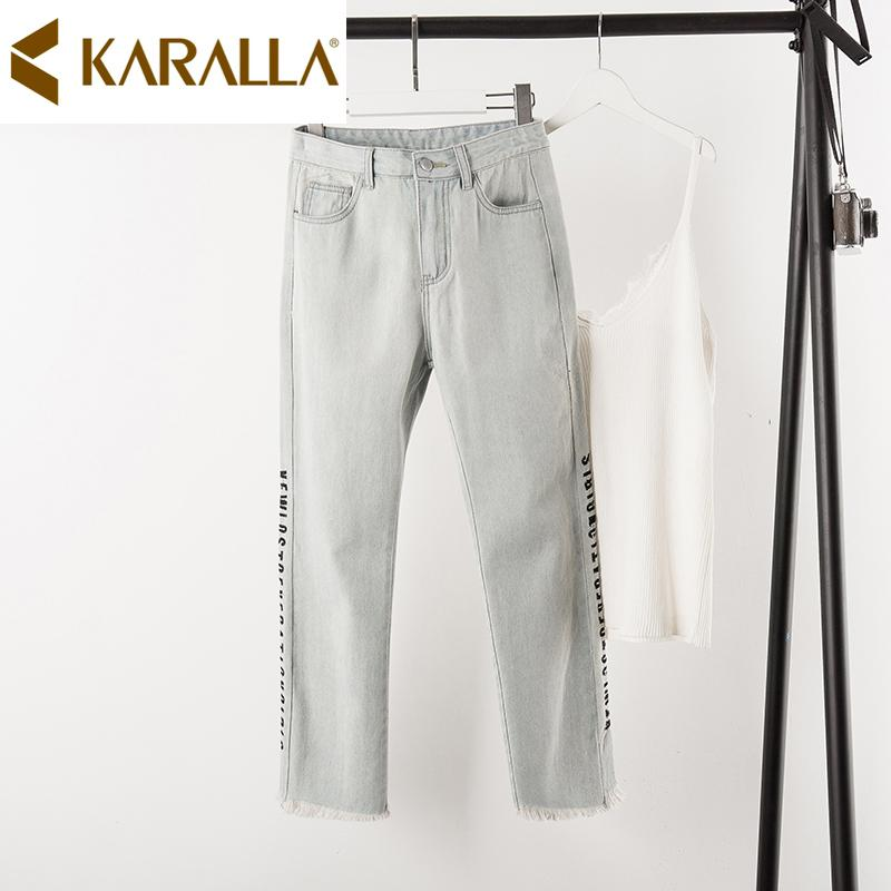 El gran tamaño de las mujeres del bordado de las letras Pantalones vaqueros 2019 verano de señora floja del tobillo de longitud Jeans C1462