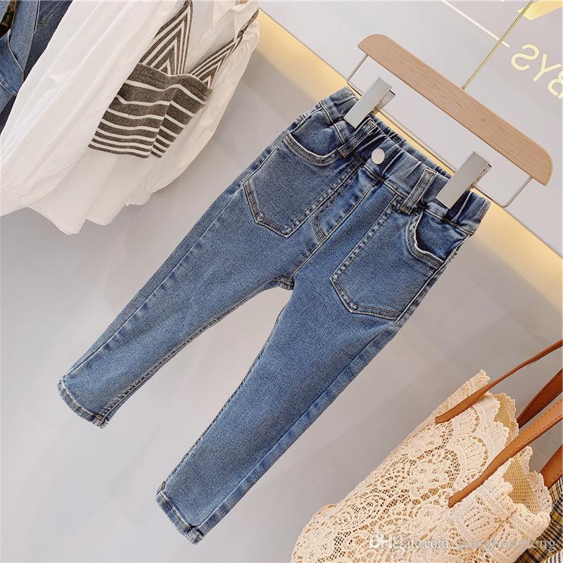 2019 Nouveau bébé garçon poches Pantalons Jeans Filles longues Enfants velours Hiver Denim Pantalon Trouders Vêtements pour enfants