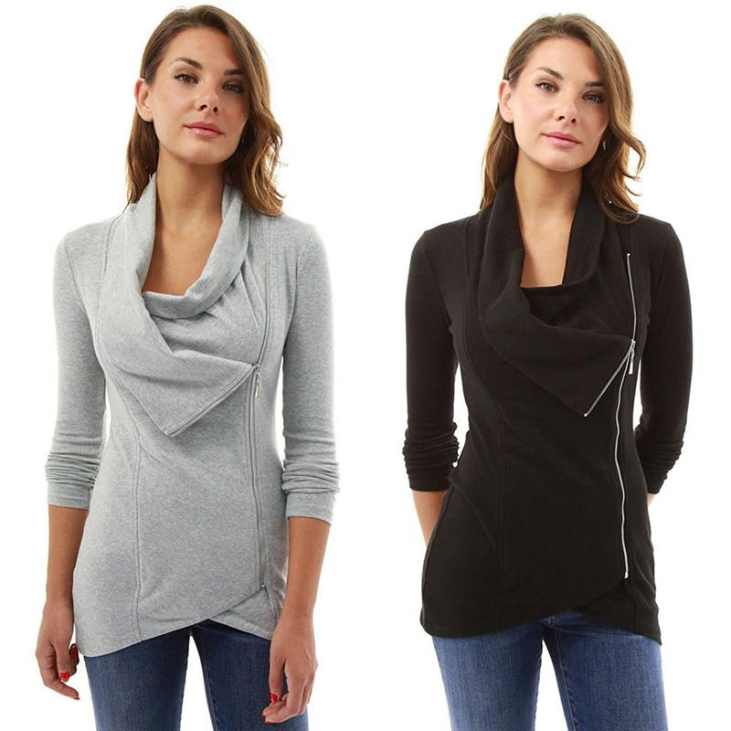 Mulheres Oblique zíper assimétrico camisola do Hoodie Falso Two Pieces cor sólida Jumper pulôver Tops Sportwear