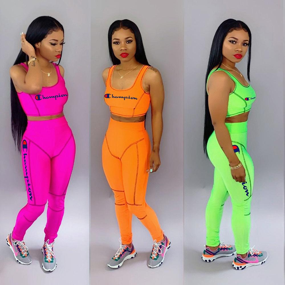 Champions Tracksuits Women Two Piece Pants Set Outfits Letter Embroidered Sleeveless Vest Crop Top Long Slim Pant Suit Rose Red Orange Green