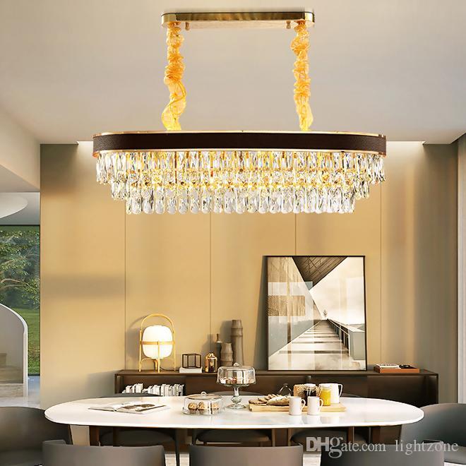 تصميم جديد K9 الثريا الكريستال الإضاءة لاعبا اساسيا الذهب الحديث الثريات البيضاوي أضواء فيلا غرفة الطعام مصابيح قلادة سوداء