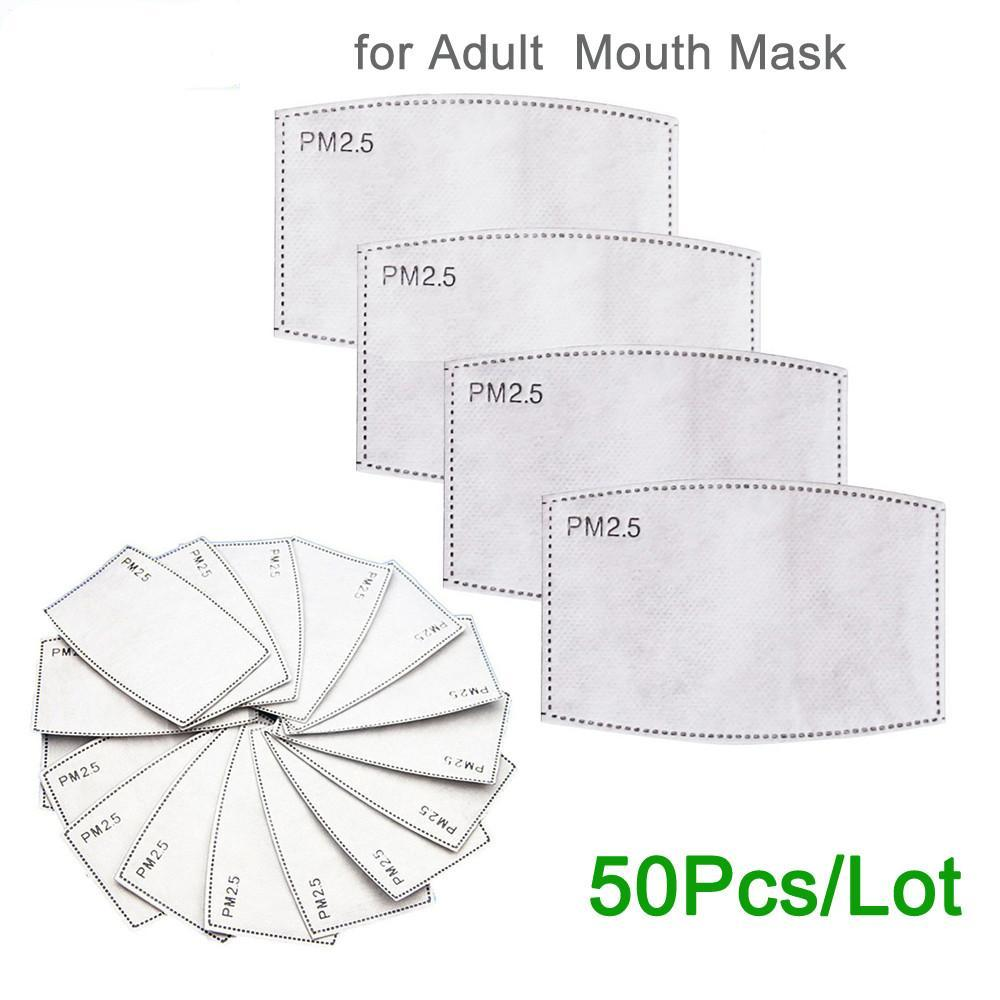 PM2 0,5 Filtre Kağıdı Karşıtı Haze Ağız Karşıtı Toz Aktif Karbon Filtre Kağıdı In Stok 50pcs Maske / Çok Maske