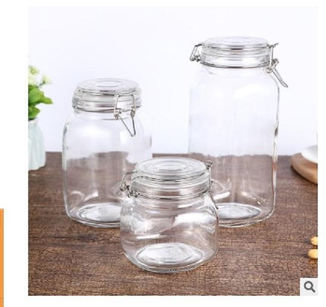 2020 Fabricante cocina cristal de la venta directa de gel de sílice de alta borosilicato cubierta de bambú sellado hebilla olla sellada storag grano diverso