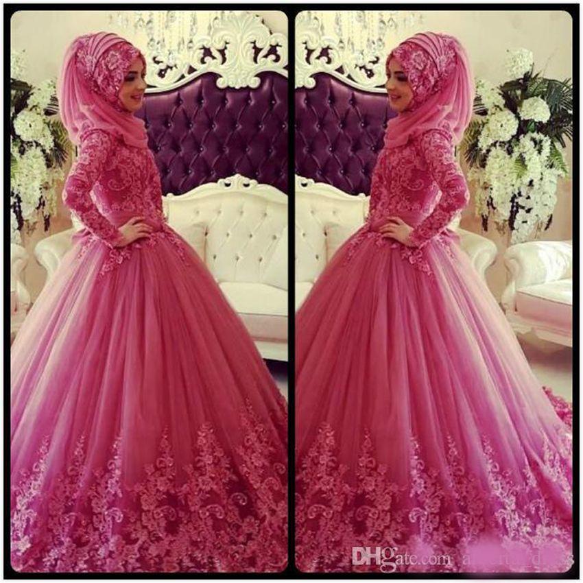 2020 quinceanera pizzo applique musulmana vestiti da sera delle lunghe maniche a collo alto con Dubai Islamic Party Vintage Gowns