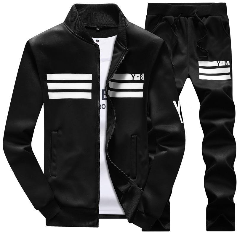 Hommes Vêtements de sport à capuche et sweat-shirts Noir Blanc Automne Hiver Jogger Mens Costume sport Survêtement Survêtement Set Plus Size M-4XL FQOW