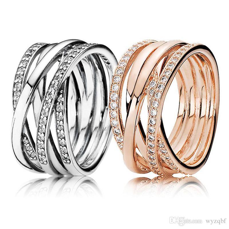 925 стерлингового серебра женщин кольцо розовое золото переплетения кольца CZ для Pandora стиль женщины свадьба подарок тонкой Европы ювелирные изделия